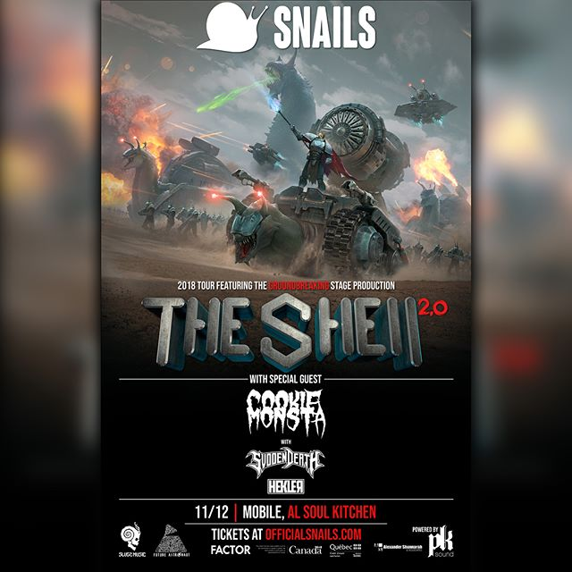 Just Announced @snailmusic will be taking over the space ship for our III Year anniversary.  Snails is bringing @cookiemonstacircus, @svddendeath , and the full Shell 2.0 tour production featuring @pksound to Soul Kitchen November 12th!