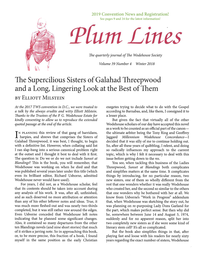 Plum Lines     Wodehouse Society Winter 2018 Pg.10-13