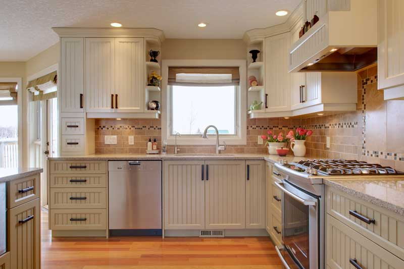 This Cozy Country Kitchen Is A Mix Of Two Colours In Shaker Style The Custom Cherry Armoire Was Ed Into An Existing Closet Turning It Much