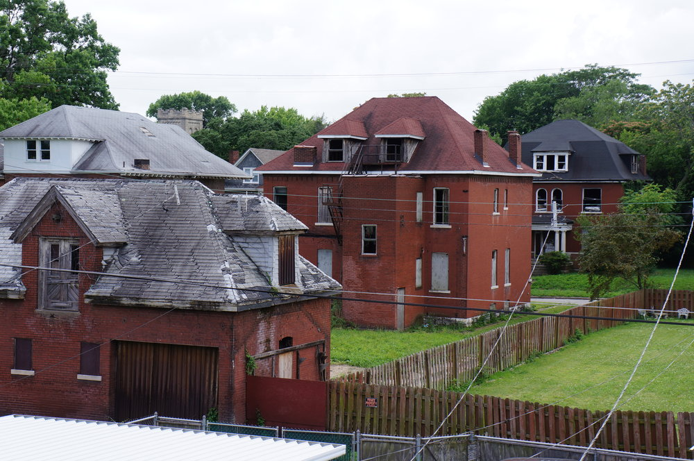 Homes seen from the backyard of the Huntspon's house, 2017