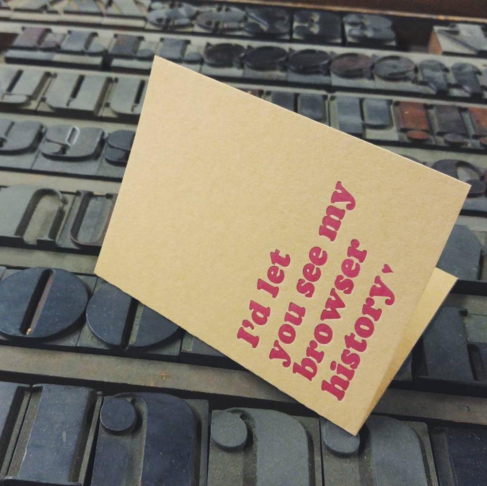 Letterpress Valentine's Day card.