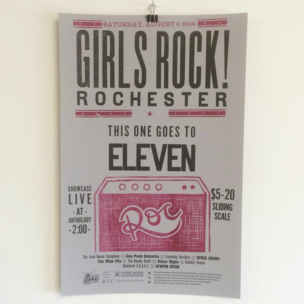 Girls Rock! Rochester letterpress printed poster w/ hand carved amp.