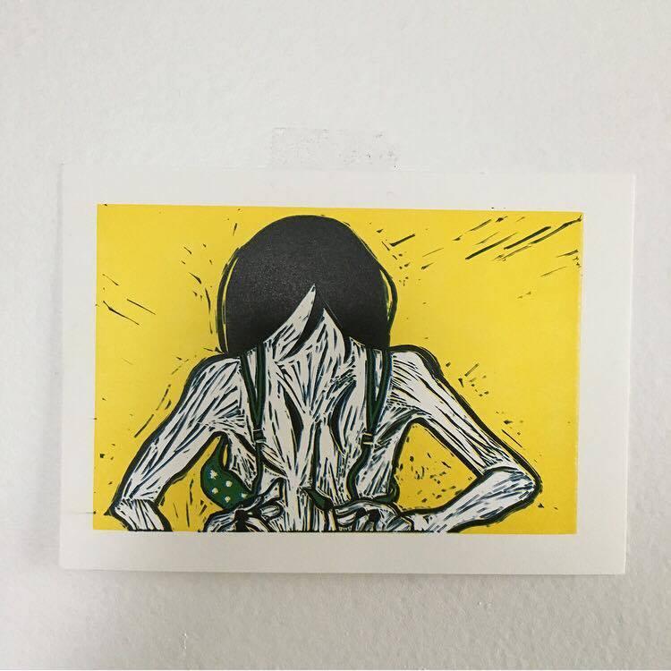 Linocut letterpress print.