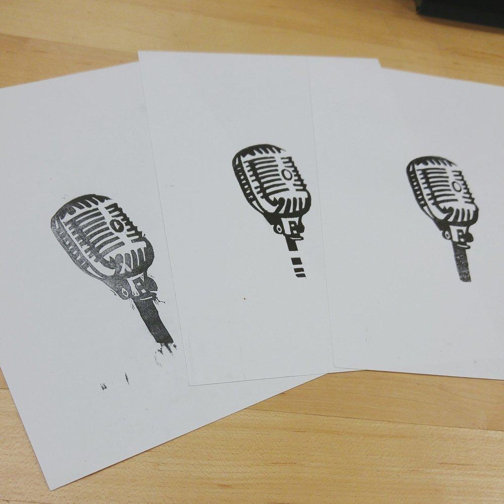 Process of linocut letterpress print.