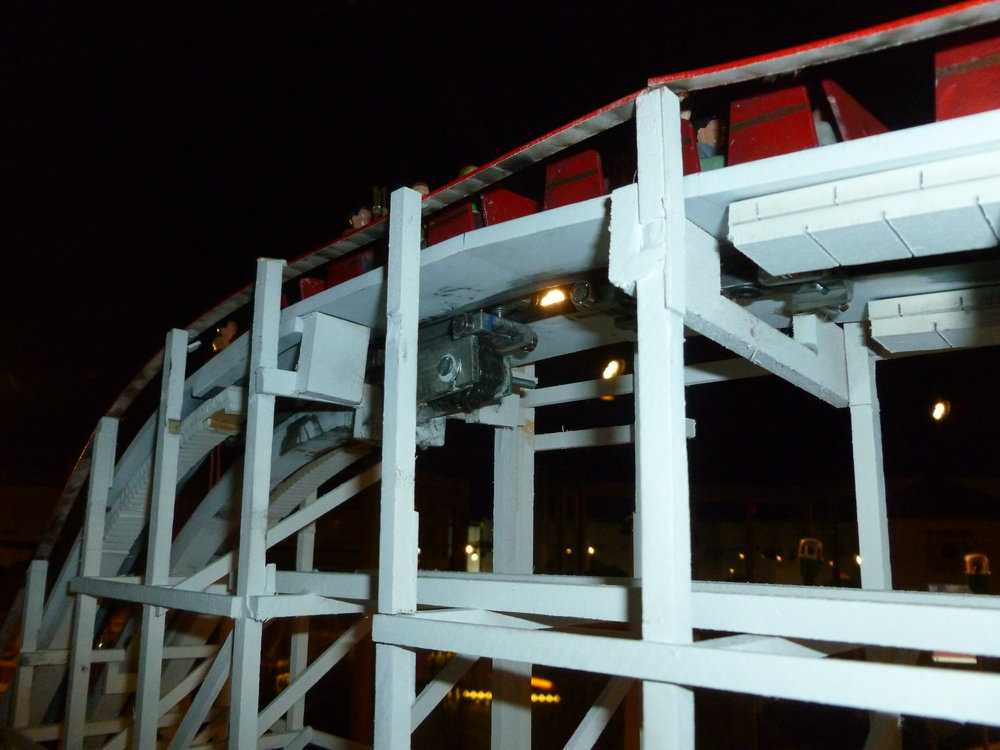 Top of the lift. The up stop wheels are visible below the track.