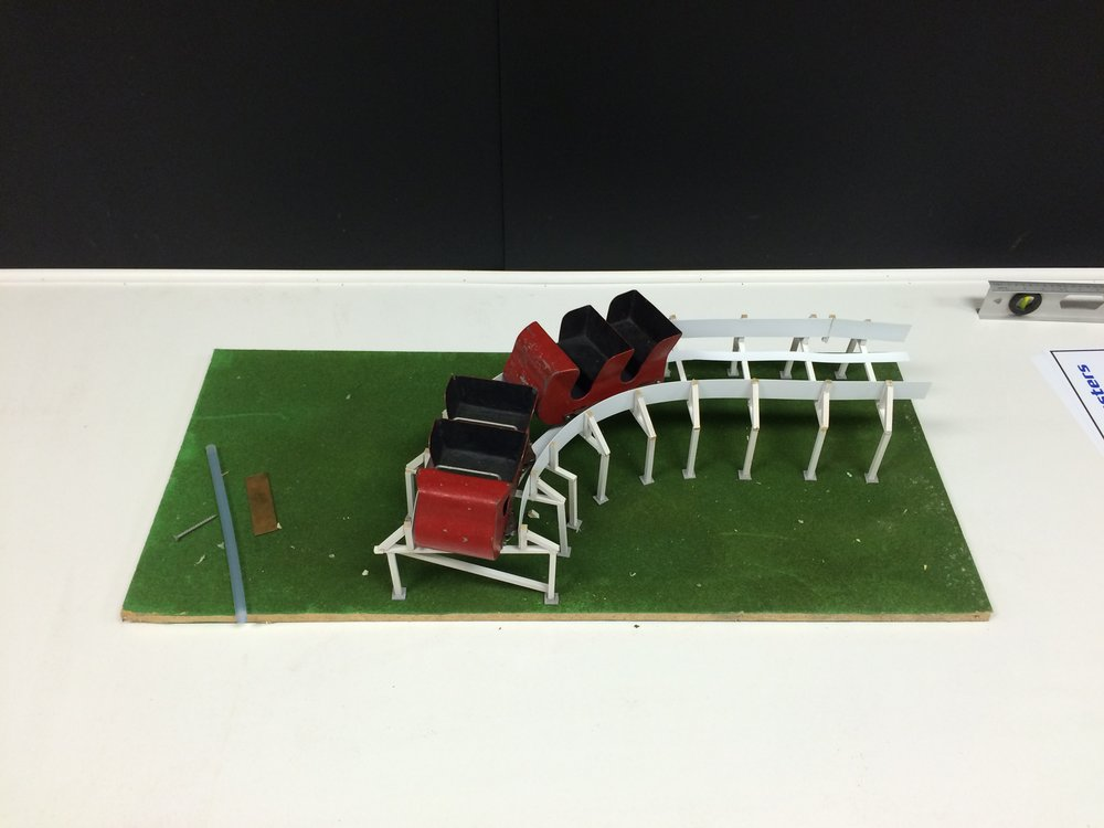Exhibit: Early Roller Coasters - Model of a Side Friction train, track and wheel configuration