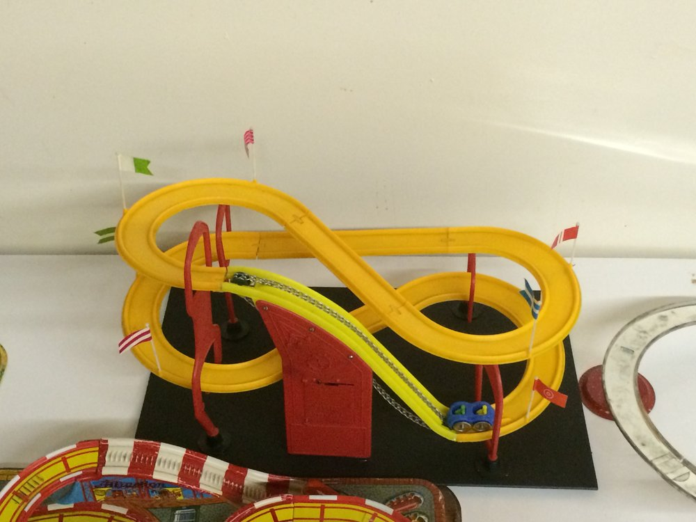 Exhibit: Playtime: Roller Coaster Toy Gallery - 1960's Battery Operated lift toy roller coaster.
