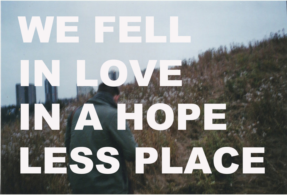 WE FELL IN LOVE IN A HOPELESS PLACE (Zach), postcard series 2010-ongoing