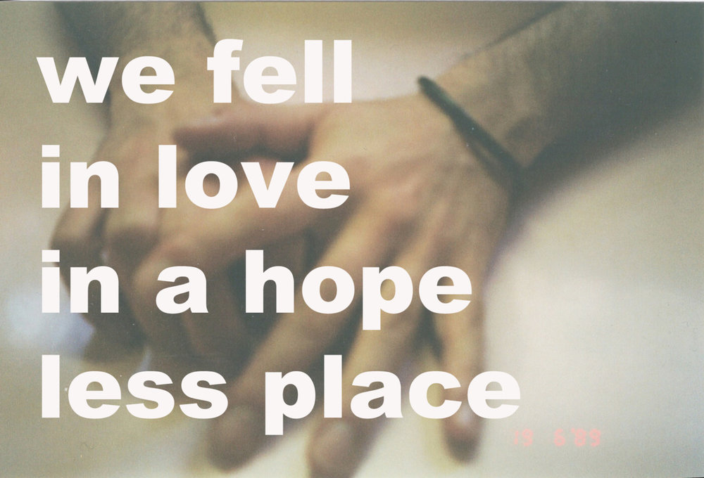 WE FELL IN LOVE IN A HOPELESS PLACE (Tommaso),postcard series 2010 - ongoing