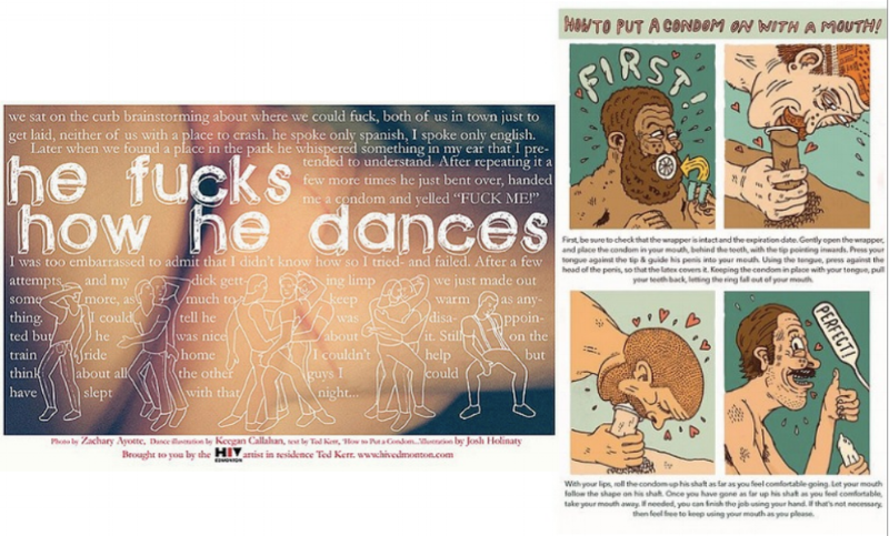 HE FUCKS HOW HE DANCES, part of a postcard series I did for HIV Edmonton as the artist in residence.