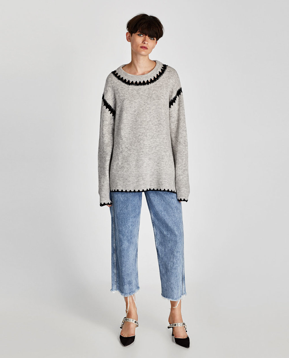 SWEATER WITH CONTRASTING DETAIL - 59.90 CAD