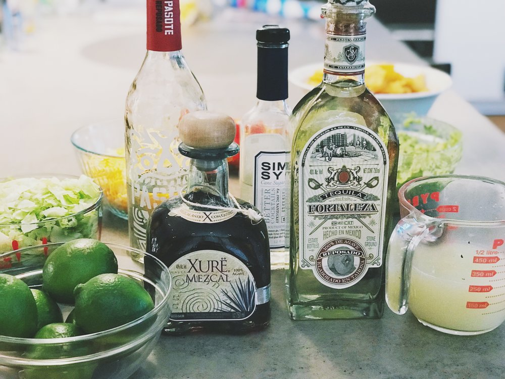 Ingredients pictured. XURE Mezcal.  Fortaleza Tequila, Pasote Tequila, fresh squeezed like juice