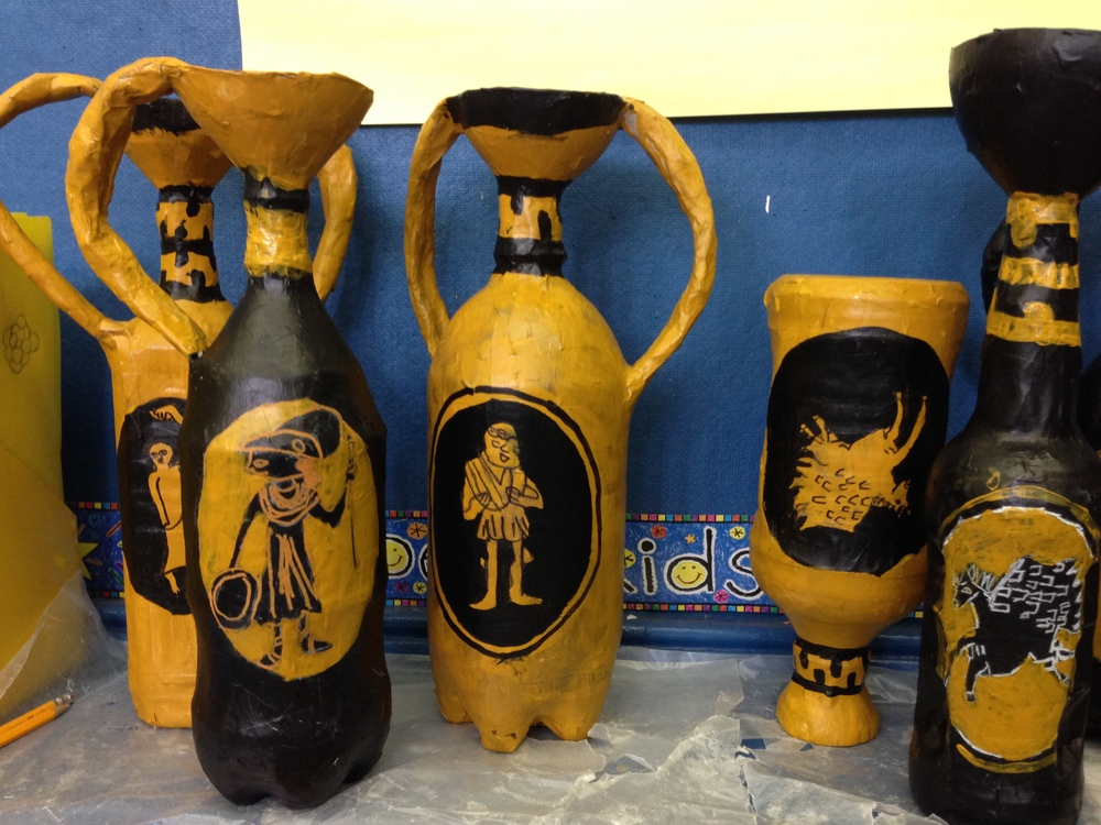 3rd grade Greek vases recycled.JPG