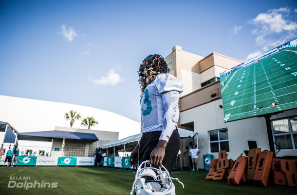 Three video boards can now be found at Dolphins practice, two in the end zone and one on the sideline. No, this isn't a new perk for the fans, but a way for the players and coaches to check out what just happened on the field.  Image credit: Miami Dolphins