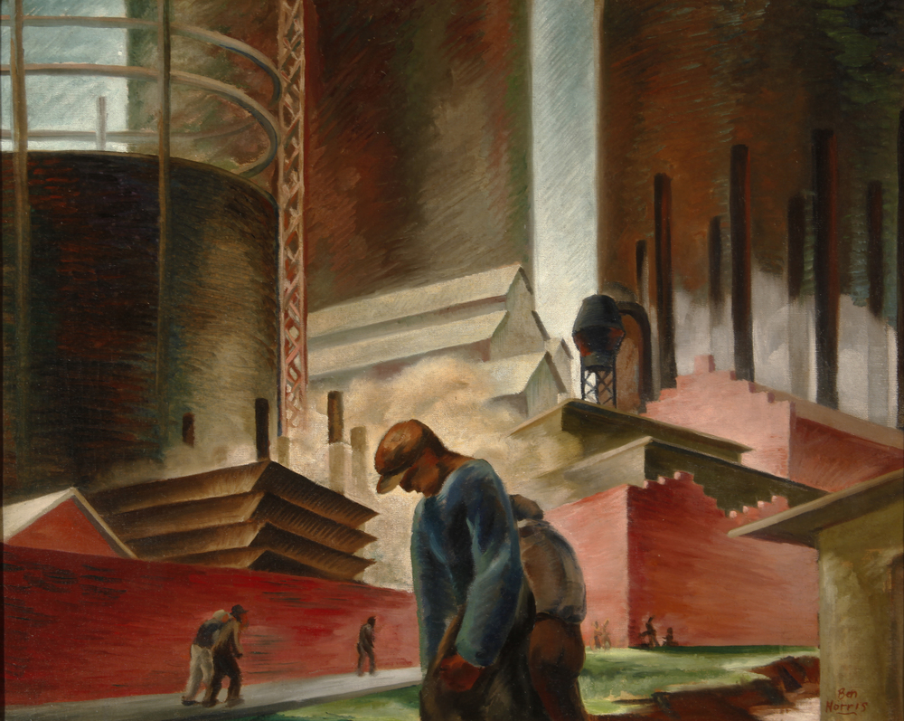 "Ben Norris, ""Discouraged Workers,"" 1936.  Oil, 24 x 30 in."