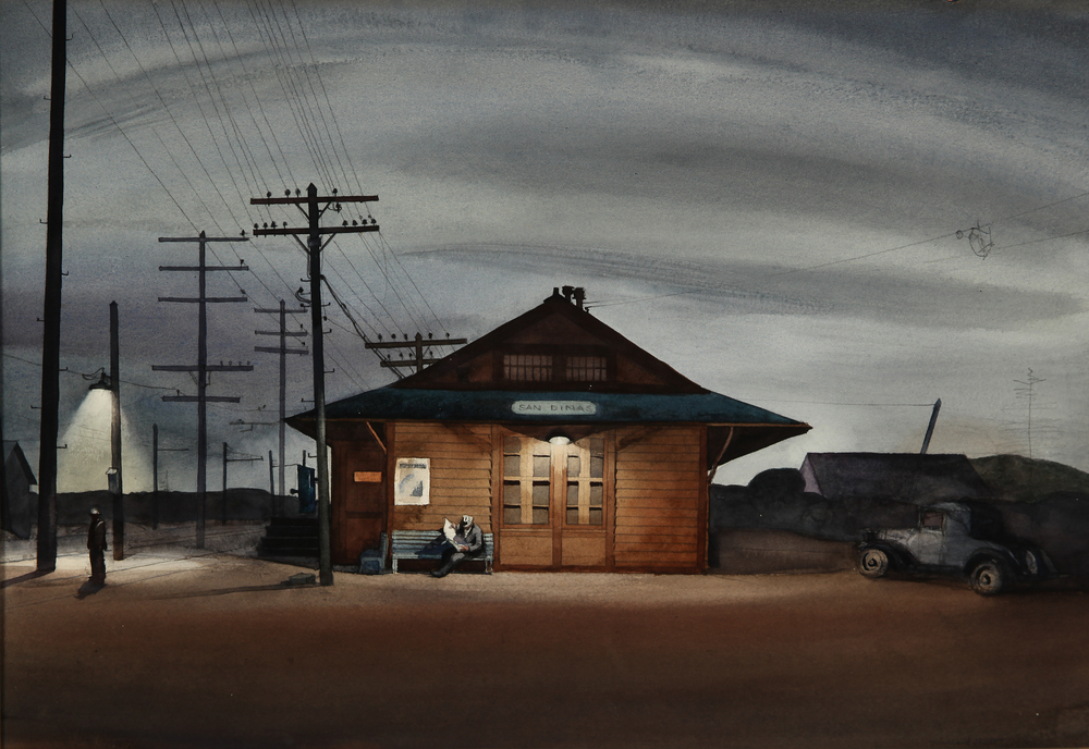 "Millard Sheets, ""San Dimas Train Station,"" 1933.  Watercolor, 15 x 22 in."