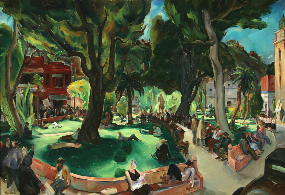 "Phil Dike, ""Sunday Afternoon in the Plaza de los Angeles,"" c. 1939-42.  Oil, 29.5 x 39.5 in."