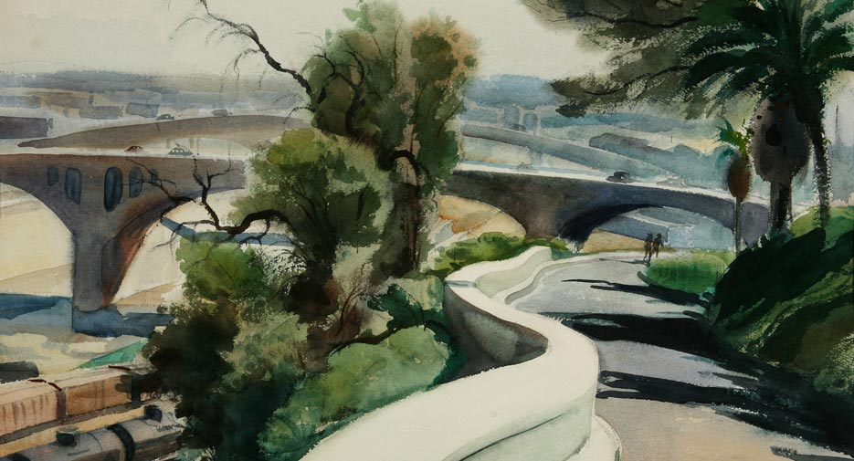 "Emil Kosa Jr., ""Romantic Bridges"" 1948, watercolor, 20 1/2 x 28 1/2 in."