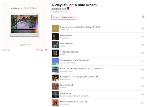a blue dream track list