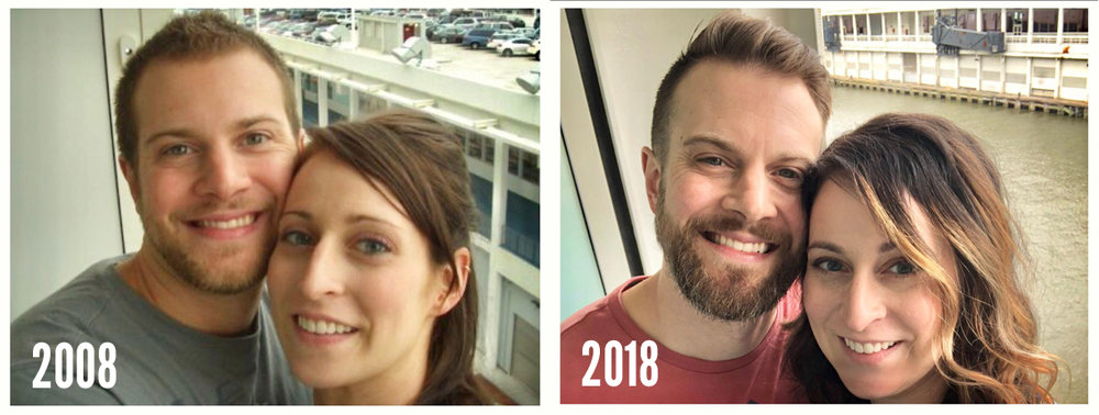 LEFT: Cruise for honeymoon RIGHT: Cruise for 10 year anniversary!
