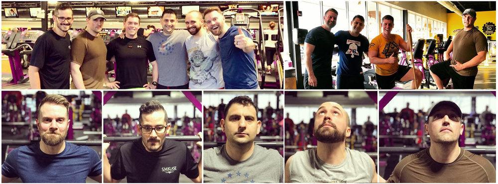 THE WOLF PACK :  Top left picture -Steve Klase, Michael DeSelm, Evan Mair, John Velarde, Mick Nicholas, Christopher Dean