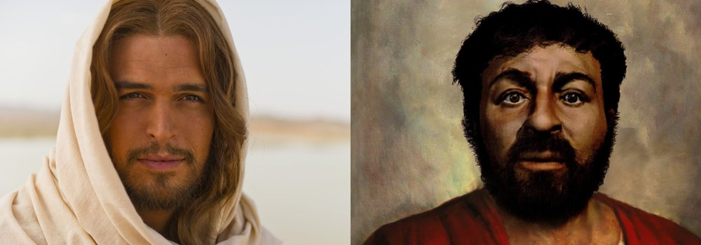 """Left Pic: Jesus as depicted by History Channel's """"The Bible"""" Series    Right Pic: Jesus as depicted by forensic anthropologists  (using cultural and archeological data)"""