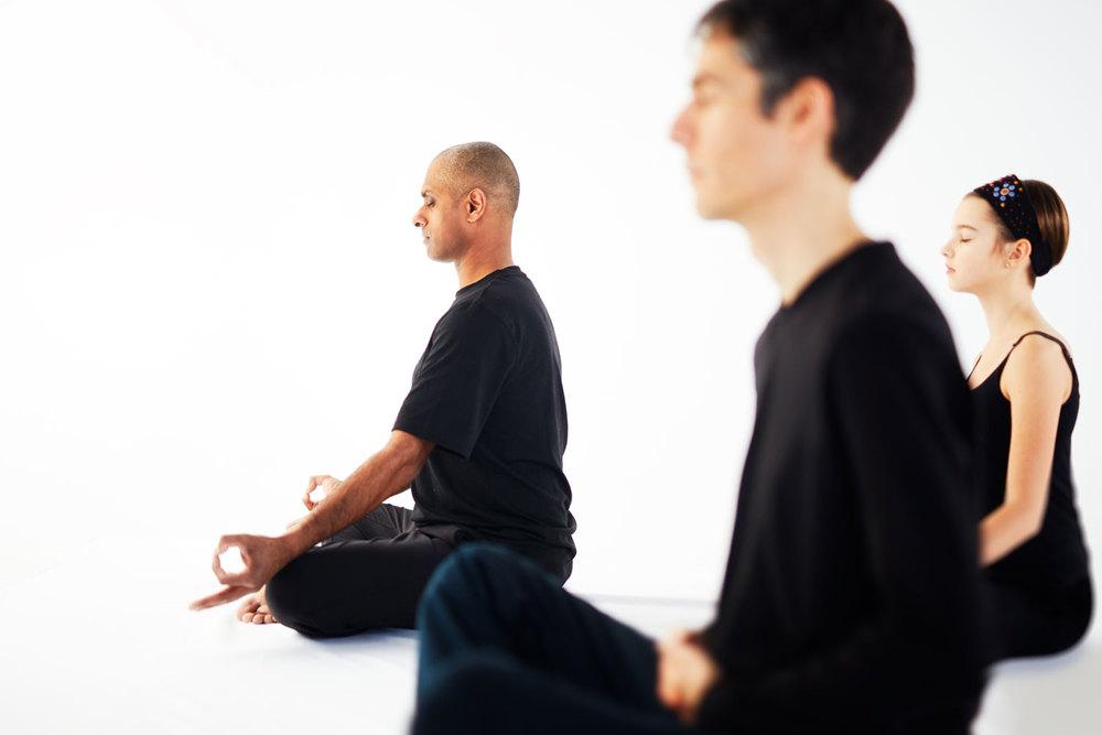 Instructor Ama Mann leads a meditation session