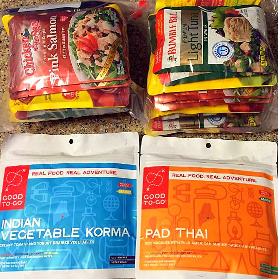 Two fancy dinners. These dehydrated meals are amazing, but a little expensive and sometimes I'm too hungry to wait for them to cook. My main dinners are two fish packets mixed with a rice packet. Plain, but very filling and relatively low sodium.