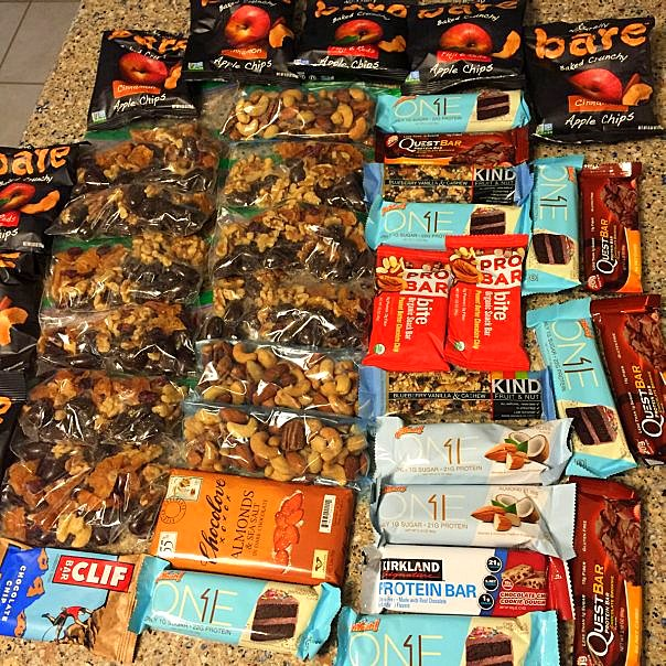 Snacks must be easy and quick, so bars are a good option. Some of these contain high protein and fiber, which is also helpful. The chocolate bar is a treat for whatever I deem the most beautiful night. I might replenish the snacks in SLC, but I think this will be enough.