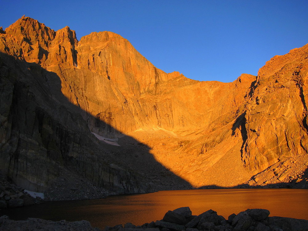 Sunrise on Chasm Lake. It was beautiful and I felt so small. It was one of the most profound times where I felt small. Because I felt REALLY small.