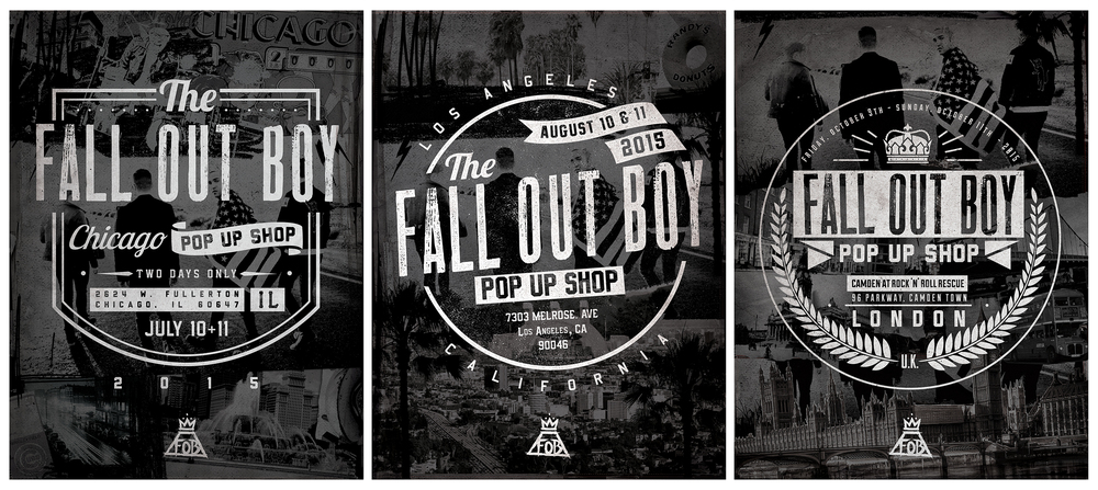 ABOVE:  3 SPECIAL FALL OUT BOY EVENTS IN THREE MAJOR CITIES (CHICAGO, LOS ANGELES, & LONDON) WE WENT FOR A CLASSIC PUNK ZINE STYLE AND KEPT THE BRANDING CONSISTENT. ONE OF MY FAVORITE FOB PROJECTS TO DATE.