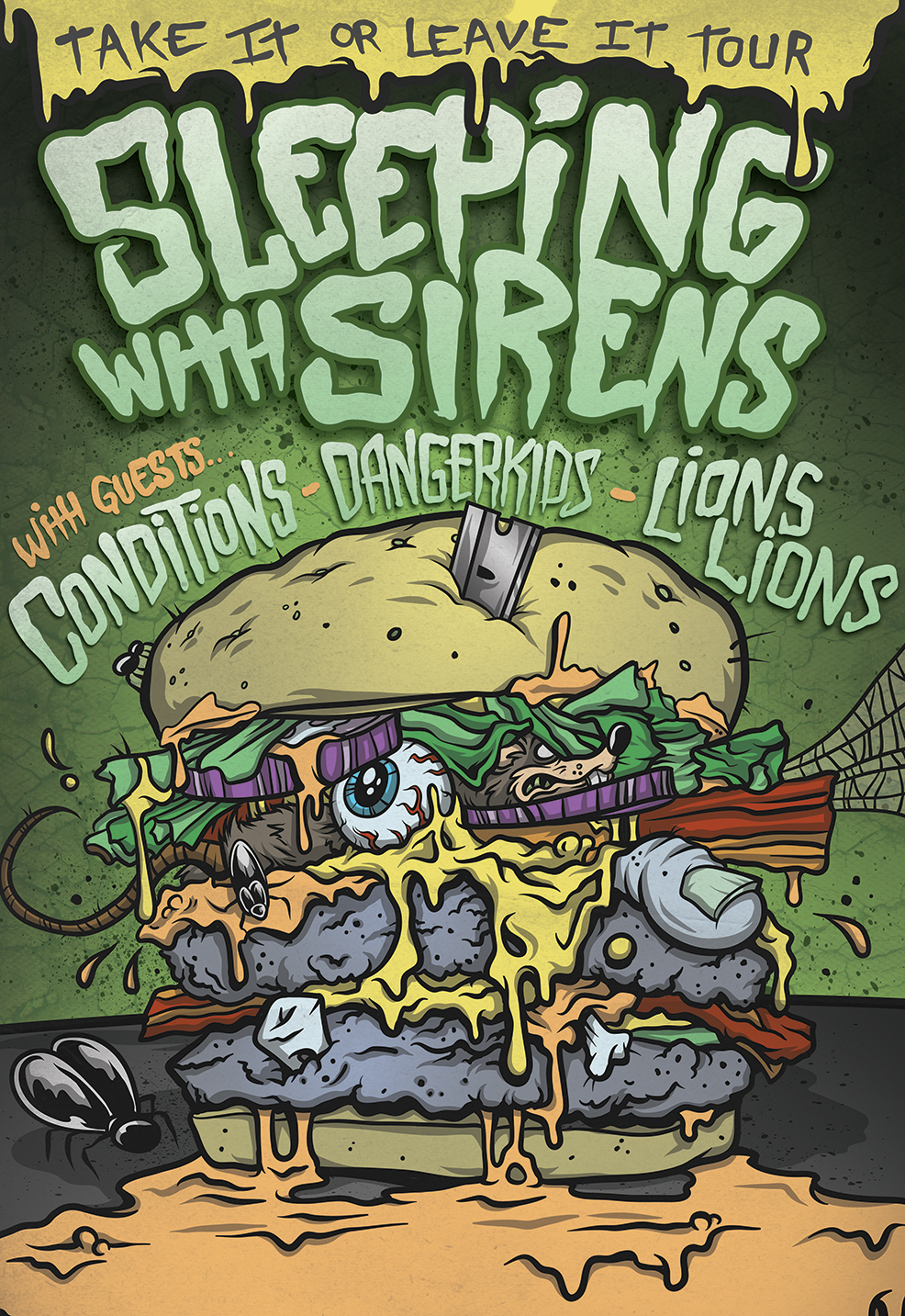 ABOVE: SWS EARLY TOUR ADMAT FEATURING OUTRAGEOUS ILLUSTRATED CHEESEBURGER FILLED WITH GROSS STUFF.