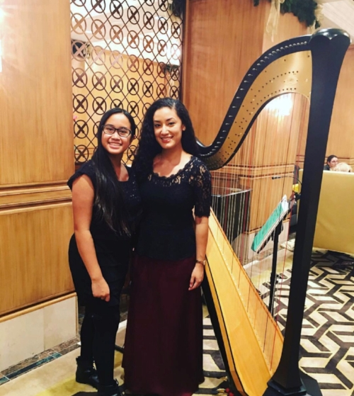 Kintan with her teacher, harp faculty member Elizabeth Steiner
