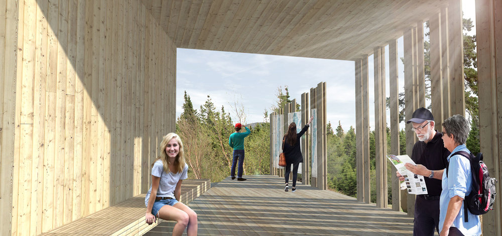 The interpretive area of the visitor experience pavilions frames key views, encouraging the park visitor to explore further.