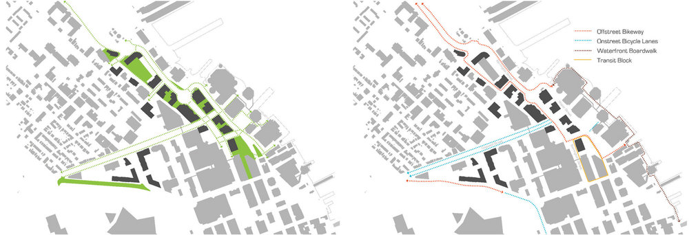 Left: Proposed open space and waterfront greenways  Right: Proposed greenways and bike lanes