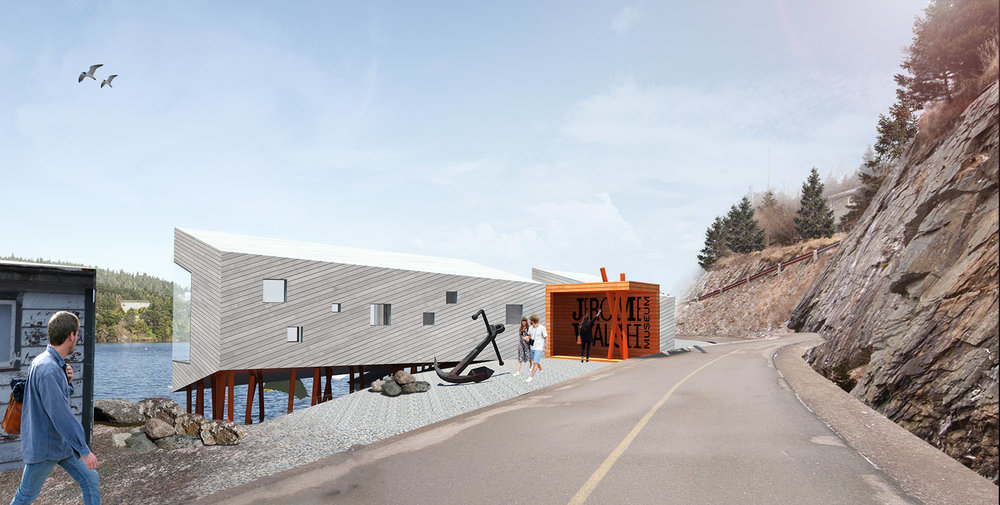 The first concept for the new building takes inspiration from the existing building and the traditional fishing stages found in coastal communities throughout Newfoundland.