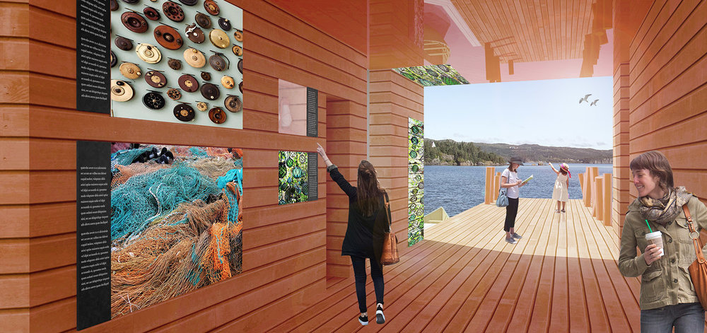 The orange corridor will be used to display artifacts from Jerome's collection as well as interpretive elements to tell his story. The orange colour was inspired by the existing wharf and the brightly coloured coastal homes.