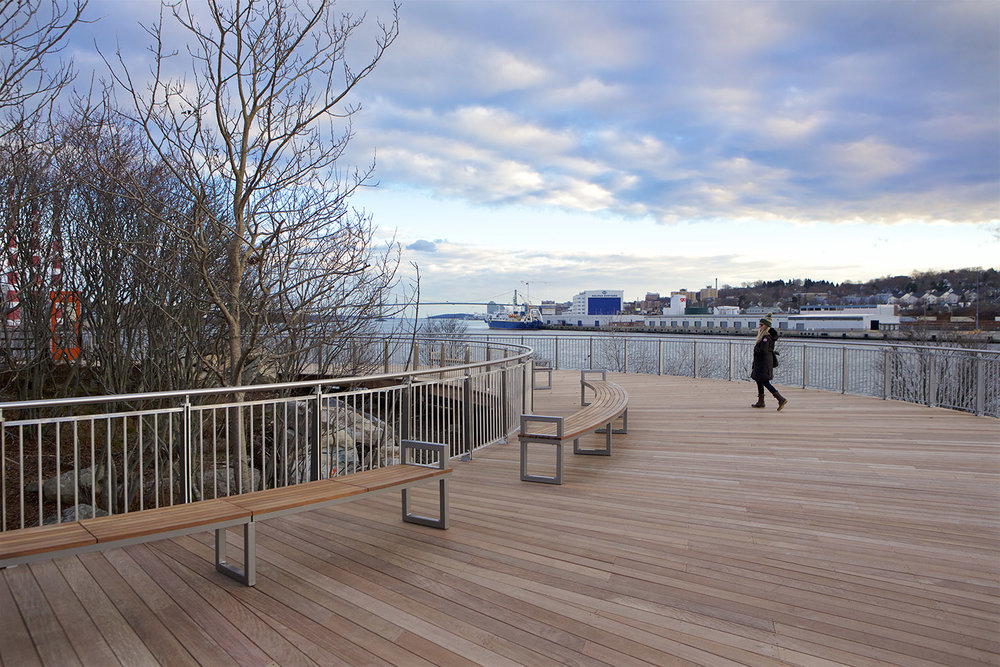 The curved Ipe deck provide spectacular views to the Bedford Basin and the mouth of the Halifax harbour.
