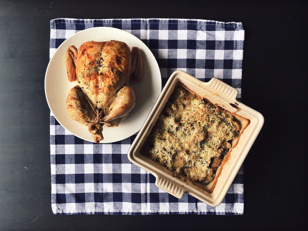 roast chicken mushroom and brussels sprouts gratin nigel slater
