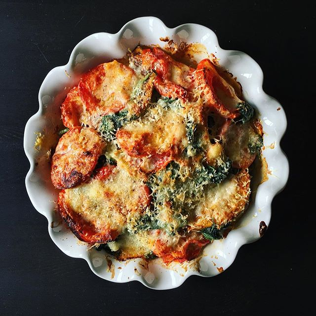 Putting that scalloped pie dish to use. Tomato, pumpkin, and spinach gratin for the week. #feedfeed #lifeandthyme #mywonbowl #food52 #f52grams #foodstagram #notpaleo