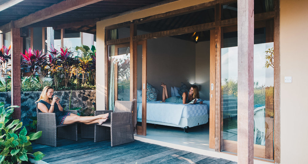 Shakti (Double) - Private (1 bed) or double (2 beds) shared optionPrivate deck with outdoor chairs and tableFine cotton bed linenCustom designed organic spa products including shampoo, conditioner, body wash and moisturizerFiltered waterNightly turn down serviceCeiling fansIn-room safety deposit box