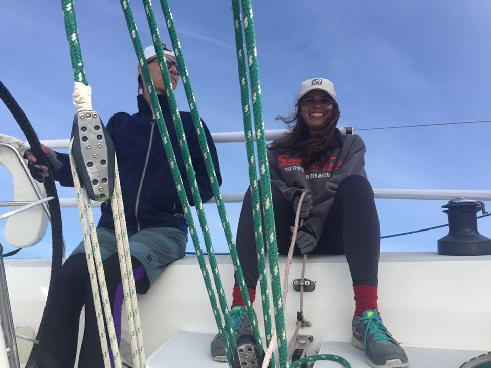 "Susie on a ""big girl"" boat in NY with her former co-captain Noah Rosenthal"