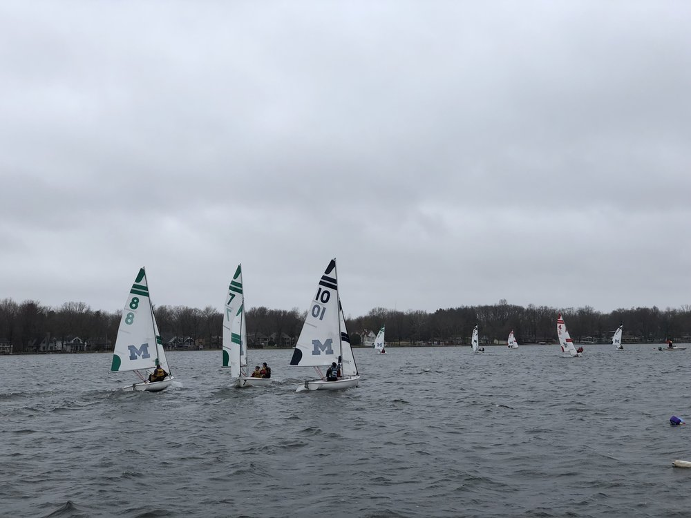 4/14-4/15 Women's Qualifiers - We finished 4th at Women's Qualifiers during a very chilly weekend in Michigan and learned a lot of sailing!