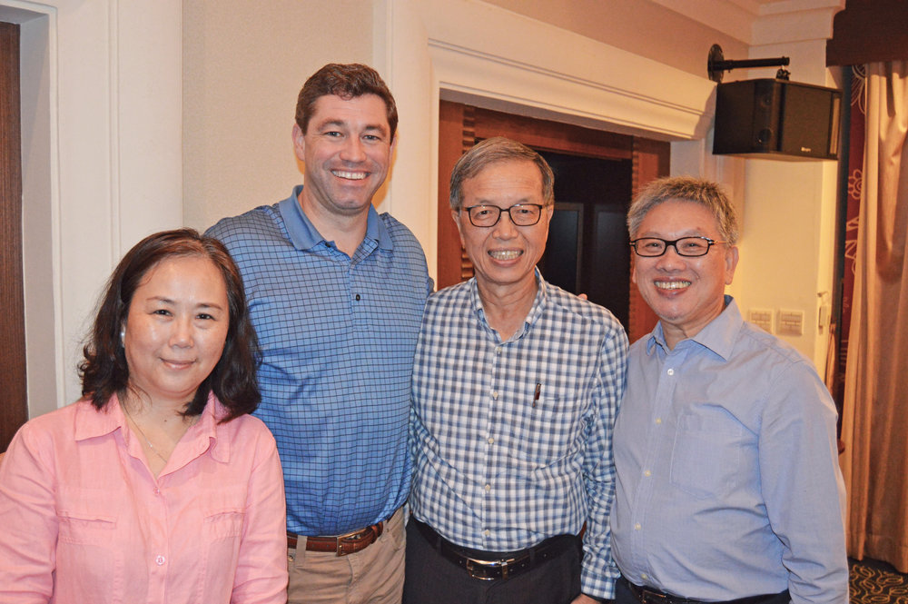 Bob Dickie with Donald Wu, Jack and Rosa Chao at a training in Kaohsiung, Taiwan