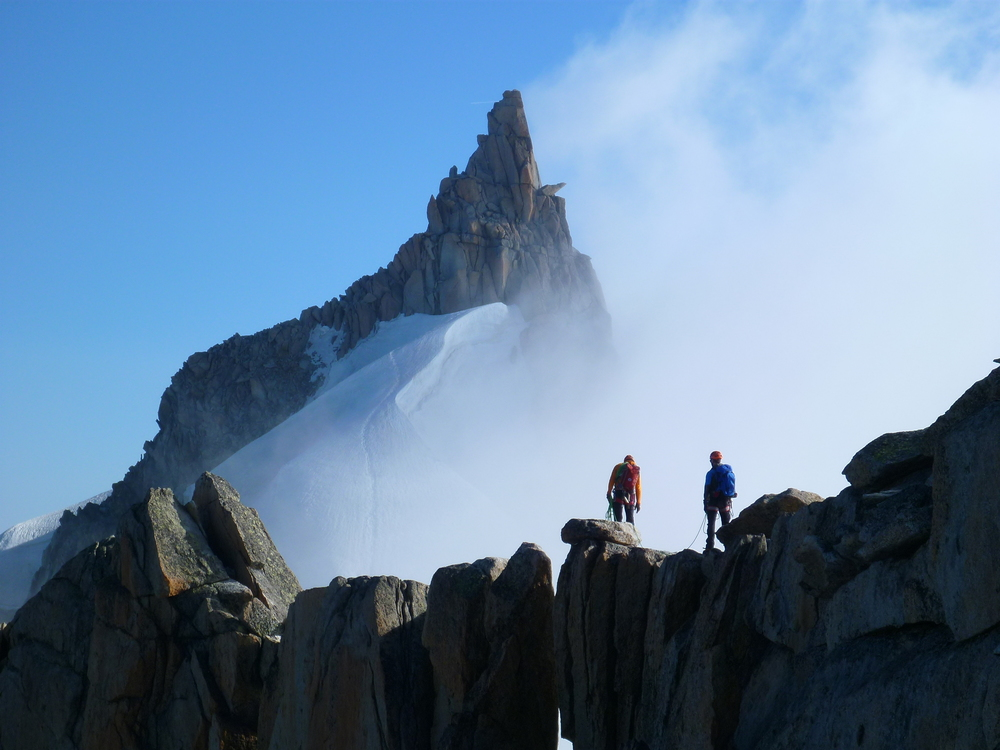 Harald and Simon preparing to absail on Aiguille Du plan