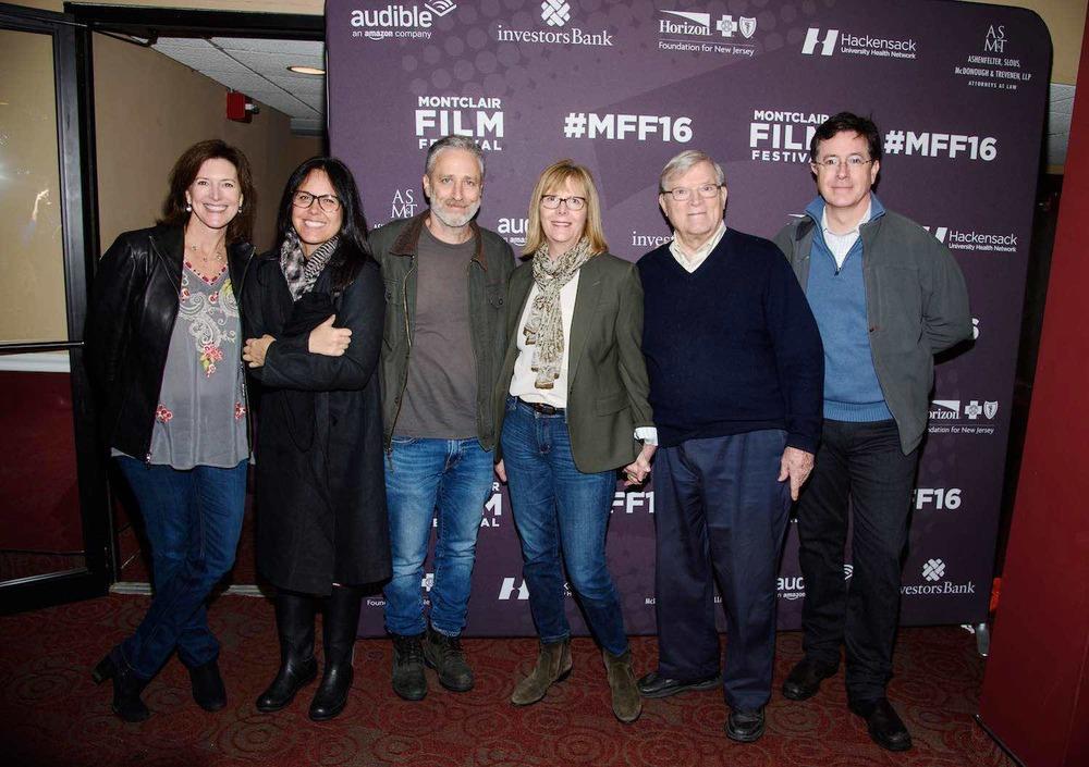 At Montclair Film Festival:Evelyn McGee-Colbert, Tracey McShane, Jon Stewart, Chris Hegedus, D A Pennebaker, Stephen Colbert
