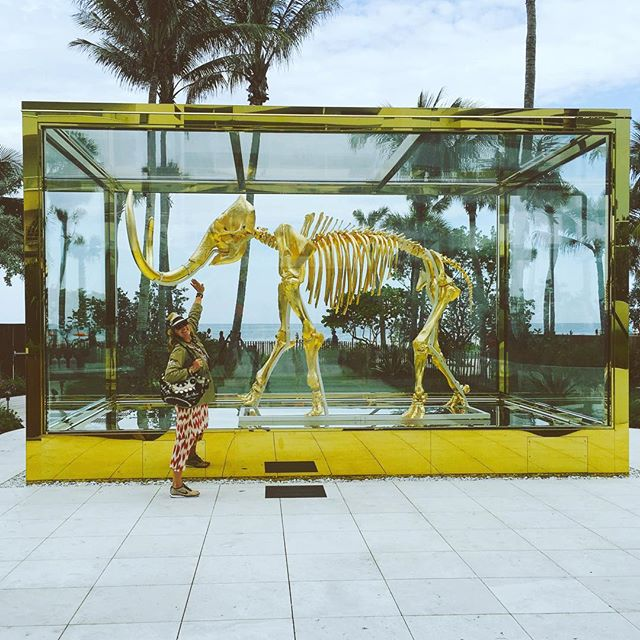 There is something really amazing happening here ... . The juxtaposition of the sea, the palm trees ,the  box with the gold mammoth... And so much more ...Magic. . #artinspires #damienhirst #miamibeach #faena #faenaworld#figuelove #theglmourai