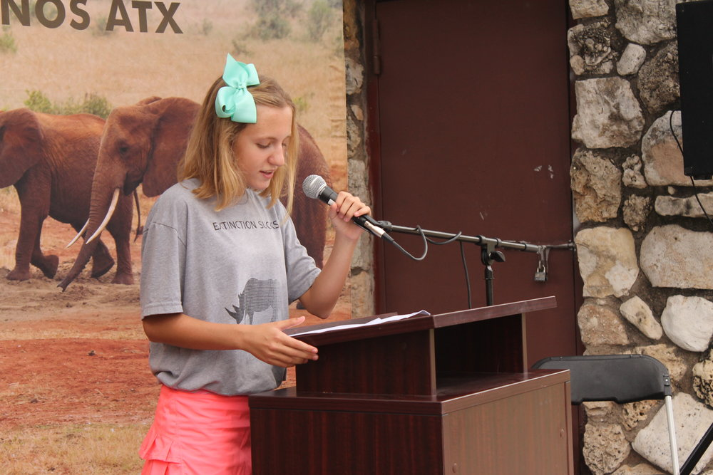 MARCH SPEAKER Olivia Korensky helps raise awareness including how many years it would take for wildlife to recover from poaching.