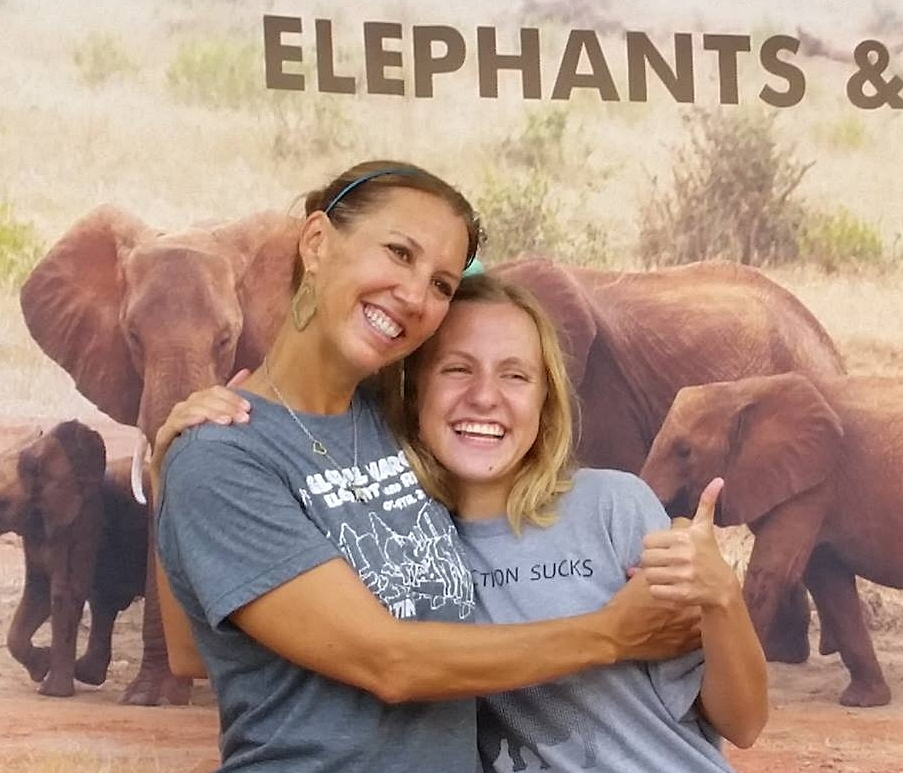 Nicole korensky, left, and daughter, Olivia raise awareness about the threats elephants face in africa and the work of DSWT.
