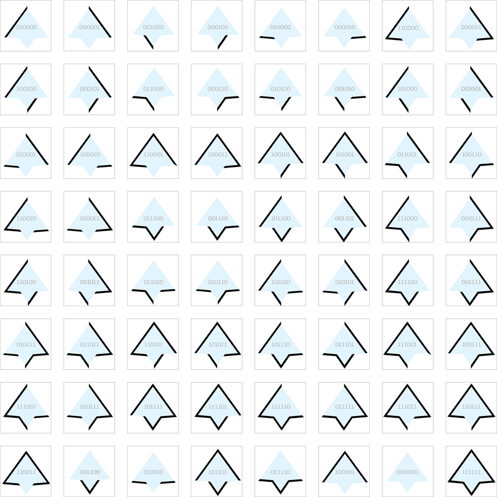64 Variations of a six-sided element, organized by visual opposites